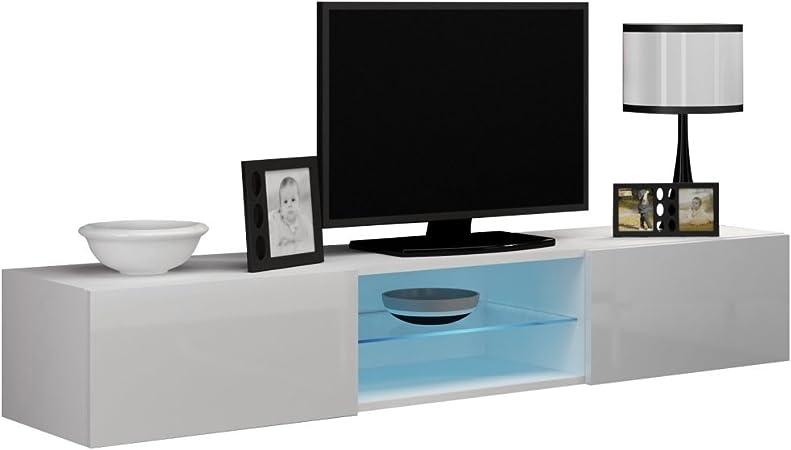 JUSTyou Vago Cristal Mueble para TV Mesa televisión salón Color: Blanco Mat/Blanco Brillante: Amazon.es: Hogar