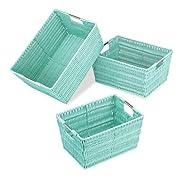 Whitmor Rattique Storage Baskets - Seafoam (3 Piece Set)