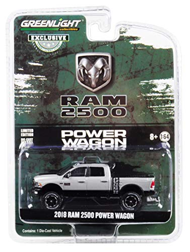 - 2018 Dodge Ram 2500 Power Wagon Pickup Truck Metallic Silver Hobby Exclusive 1/64 Diecast Model Car by Greenlight 30014