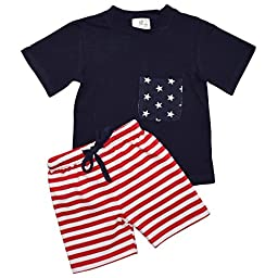 Unique Baby Boys Patriotic 4th of July 2-Piece Summer Outfit (4t, Blue)