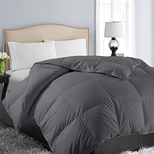 EASELAND All Season Queen/Full Soft Quilted Down Alternative Comforter Hotel Collection Reversible Duvet Insert with Corner Tab,Warm Fluffy Hypoallergenic, Dark Grey,88 by 88 Inches
