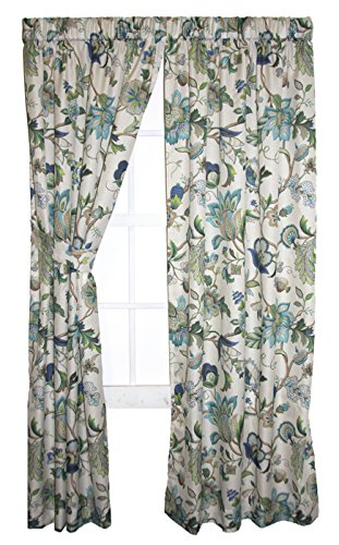 Brissac Floral Print Tailored Panels Curtains Pair 70-Inch-by-45-Inch, Blue (Curtains 70 Window Inch)