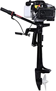 LEADALLWAY 4HP 4Stroke Outboard Motor,Inflatable Fishing Boat Engine w/Air Cooling System-Full Saltwater and Freshwater Compatibility Black