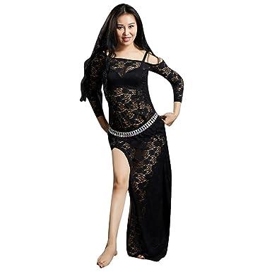 8056548e7ee YuanDian Women Lace Belly Dance Dresses High Split Long Sleeves Perspective  Elegant Tribal Oriental Arabian Dance Costume Dress (No Waist Chain) Black   ...