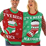 U-WARDROBE Ugly Christmas Siamese Sweater Two Person Couples Knit Pullovers Xmas