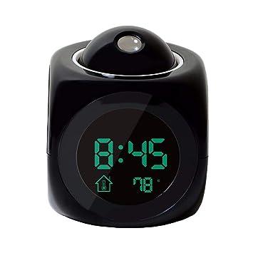 SMAERTHYB Pantalla Led Tiempo Proyección LCD Digital Reloj Despertador Digital Señal De Voz Que Habla Termómetro Snooze Función Escritorio Decoración De La ...