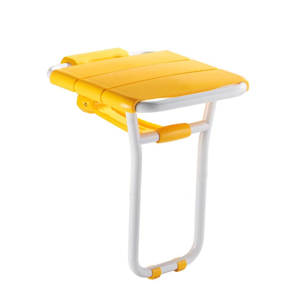 Sedile pieghevole per bagno Antichi doccia a muro Sgabello per doccia Scarpiera Tubo d'acciaio verniciato Ruggine e compressione Risparmio economico 36 * 41 * 48cm ( Color : Yellow )
