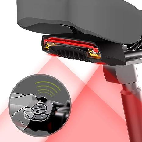 Smart Wireless Remote Lamp USB Bicycle Bike Indicator LED Rear Tail Laser Light