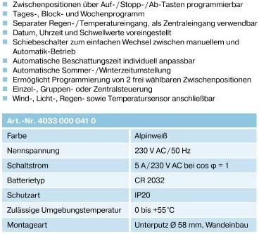 Becker Zeitschaltuhr SunWindControl SWC62 in wei/ß