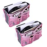 2 Pack Magik Travel Insert Handbag Purse Large Liner Organizer Tidy Bags (Pink)