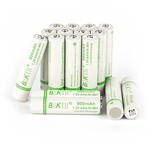 BAKTH 900mAh 1.2V AAA High Performance NiMH Cycle Low Self-Discharge Rechargeable Batteries for Toys Cordless Phones and more Household Devices (16 (Mah Nimh Cordless Battery)