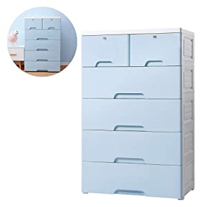 Nafenai 4-Drawer with 2 Cabinet Plastic Storage Bin Baby Closet Toy Box Clothes Storage Cabinet (2)