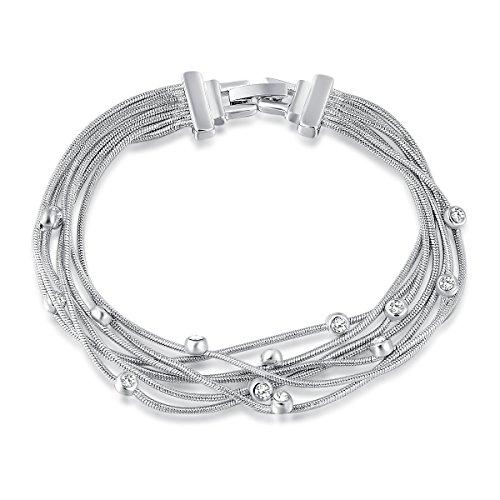 Jesie Club Subtle A Charm Hamsa Bracelet White Gold Plating