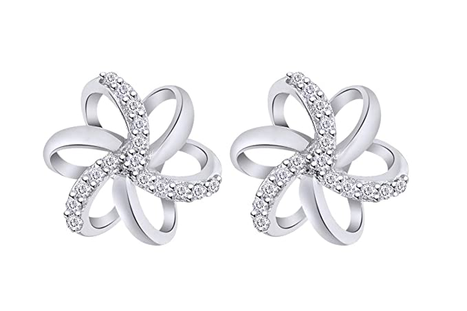 bafd8e5b16b48 Aria Jewels Natural Diamond Accent Spiral Flower Stud Earrings in Sterling  Silver For Women (1/10 cttw, IJ Color, I2-I3 Clarity)