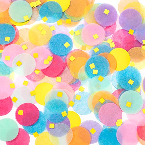 Whaline Round Tissue Paper Confetti, 1 Inch Multicolor Table Confetti Dots and 0.2 Inch Square Gold Foils for Balloon Wedding Birthday Party Decorations, 2.1 oz -