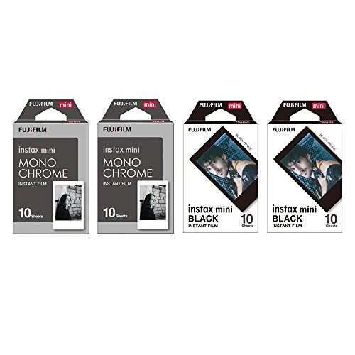 Fujifilm Instax Mini Instant Film 4-PACK BUNDLE SET , Monochrome ( 10 x 2 ) + Black Frame ( 10 x 2 ) 90 8 70 7s 50s 25 300 Camera SP-1 Printer