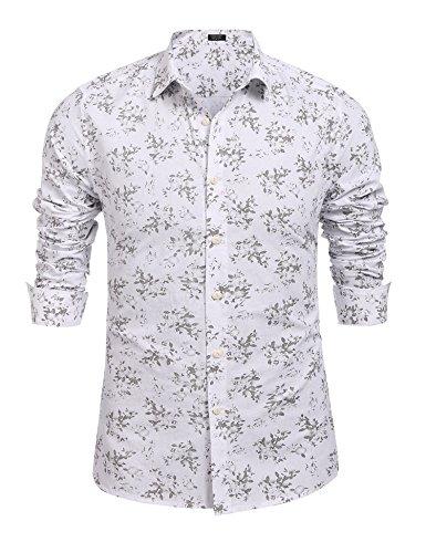 COOFANDY Men's Fashion Print Casual Long Sleeve Button Down Shirt,Small,Pat2