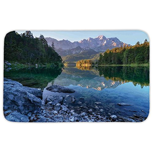 Rectangular Area Rug Mat Rug,Lake House Decor,Fantastic Sundown on Mountain Lake Eibsee Located in the Bavaria Germany,Green Mustard Blue,Home Decor Mat with Non Slip Backing by iPrint