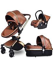 DLWDMRV Outdoor safety push Leather Baby Stroller,Eggshell Design,Damping Baby Carriage,High Landscape Infant Pushchair Stroller,Foldable Pram with Adjustable Canopy,Storage Basket
