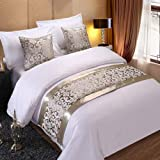 Wall of Dragon Silver Floral Bedspreads Bed Runner Throw Bedding Single Queen King Bed Cover Towel Home Hotel Decorations