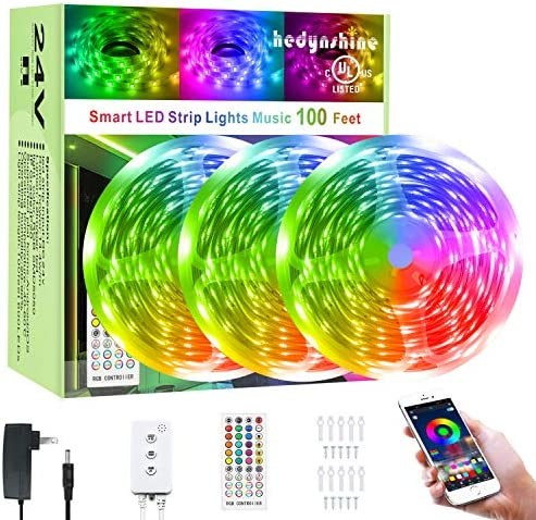 100Ft Smart LED Strip Lights Bluetooth, Hedynshine Dimmable Color Changing by means of 40Key Remote Controller Ultra Long Strip Lights, Sync to Music Light Strips 100feet