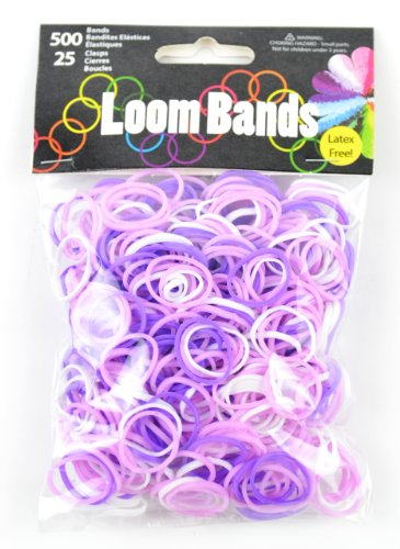 (Touch of Nature 500 Value Pack Loom Bands, Assorted, Includes 25 Plastic Claps, Purple/Light Purple/White)