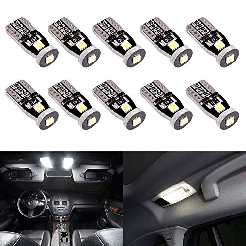 T10 194 LED Bulbs,Morefulls 168 2825 w5w LED Light Bulb,6000k LED Replacement Bulbs for Car Dome Map Door Courtesy License Plate Lights (Pack of 10)