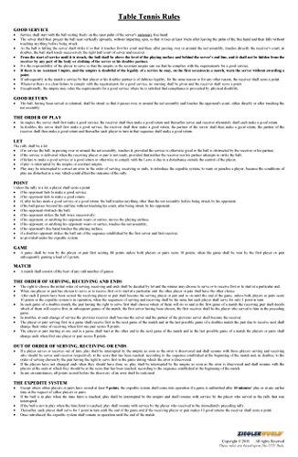 Zieglerworld 11 x 17 Ping Pong Table Tennis Game Laminated Rules & Regulation - Pingpong Server