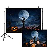 Allenjoy 7x5ft Halloween Party Backdrop Cartoon Cross Tombstone Zombie Pumpkin Dead Tree Moon Werewolf Cloud Rain Moonlight Ghost Hand Crow Horror Night Photography Background Photo Props