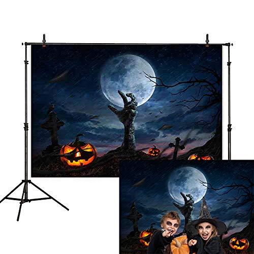 (Allenjoy 7x5ft Halloween Party Backdrop Cartoon Cross Tombstone Zombie Pumpkin Dead Tree Moon Werewolf Cloud Rain Moonlight Ghost Hand Crow Horror night Photography Background Photo)