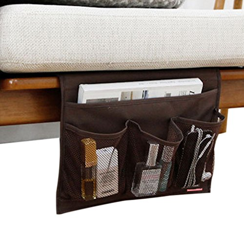 4 Pockets Tidy Bedside Caddy Organizer Hanging Storage Mattress Armrest Chair Desk TV Remote Controller Holder Bag Table Cabinet Magzine Book Cellphone iPad Pouch for Dorm Bedroom