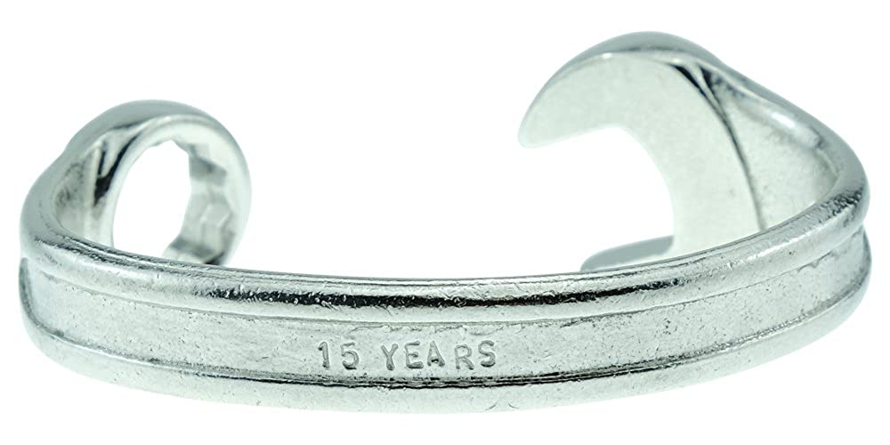 Mens Stamped with 15 Years Pirantin 15th for Husband Spanner Wrench Bangle