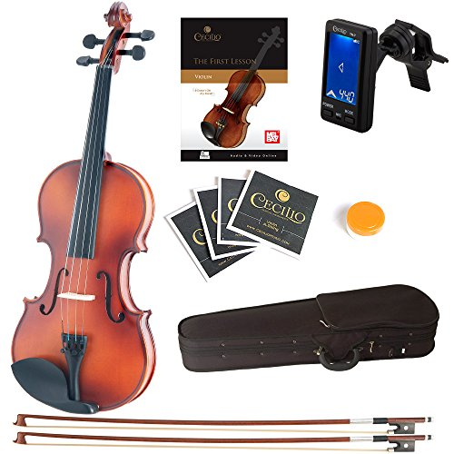 Mendini Size 1/16 MV300 Solid Wood Violin with Tuner, Lesson Book, Extra Strings, Extra Bow and Case, Satin Antique Finish
