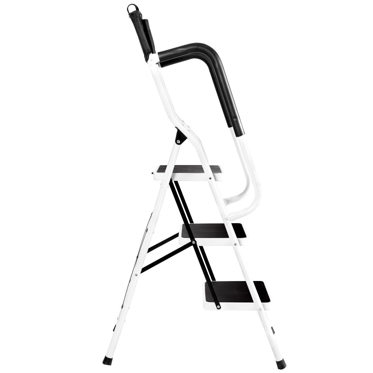 Giantex Folding 3 Step Ladder W/Padded Side Handrails Non-Slip Steps Tool Pouch Caddy Lightweight Powerful Capacity by Giantex (Image #8)