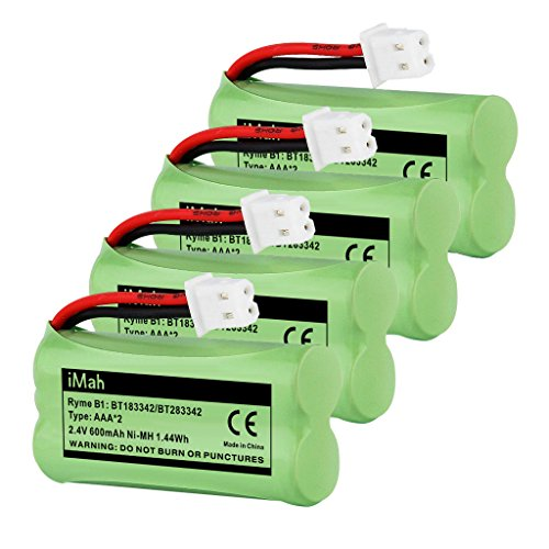 4-Pack iMah Ryme B1 Rechargeable Cordless Phone Battery for BT183342 BT283342 BT166342 BT266342 BT162342 BT262342 2SN-AAA40H-S-X2 2SN-AAA65H-S-X2 VTech CS6114 CS6124 CS6419-2 CS6429 AT&T EL52300 EL52100 DECT 6.0 Home Handset Telephone (Pack Bt183342 Battery)