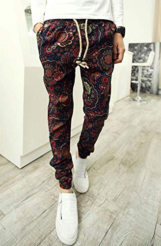 Floreale Fit Estivi Casual Da Uomo Slim Moda Colour Vintage Con Coulisse Larghi Stampa Harem Pantaloni Z0Pcg1wqzv