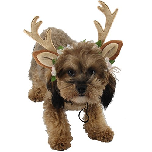 BUYITNOW Pet Antlers Headband Reindeer Ears Flowers Headwear Christmas Cosplay Costume for Dogs Cats
