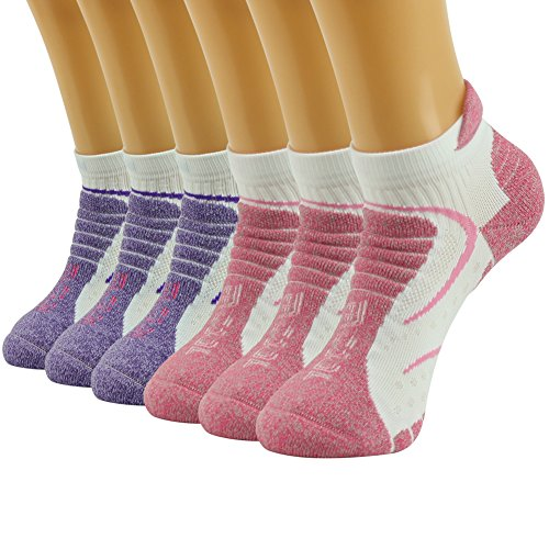Cushioned Low Cut Walking Socks - Facool Women's Dri-Tech Cushioning Hiker/Runner Low Cut Quarter Sports Socks for Tennis/Golf/Exercise,,One Size,6 Pairs Pink&white/Purple&white