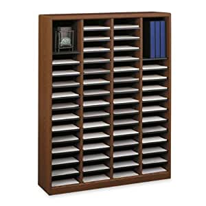Safco Products 9331CY E-Z Stor Wood Literature Organizer, 60 Compartment, Gray