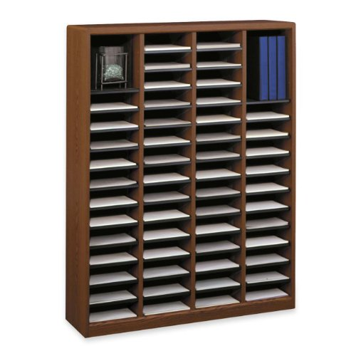 Safco Products 9331CY E-Z Stor Wood Literature Organizer, 60 Compartment, Cherry - Ez Stor Labels