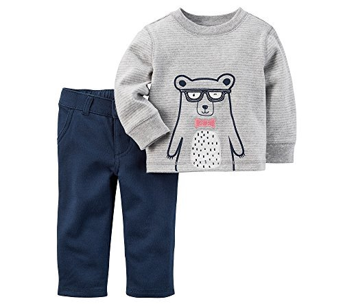 Carter's Baby Boys' 2 Piece Bear Jersey Top and French Terry Pant Set 9 Months