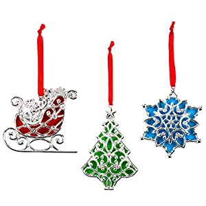 Lenox Sparkle and Scroll Ornaments [Silver-Plated] 110