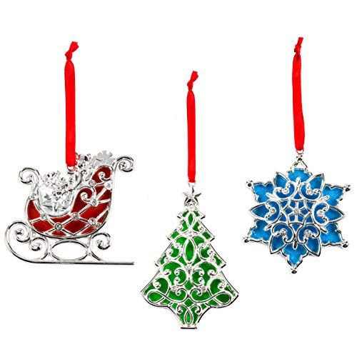 Lenox Sparkle and Scroll Ornaments [Silver-Plated] (3 Clear Gem)