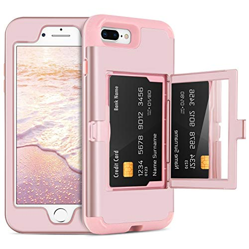 DOMAVER iPhone 8 Plus Case,iPhone 7 Plus Case with Wallet Card Holder and Mirror Hard Plastic Soft TPU Rubber Heavy Duty Shockproof Protective Phone Case Cover for Apple iPhone 7 Plus/8 Plus,Rose Gold