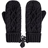 IL Caldo Womens Winter Glove Hemp Plush Lining Thick Knit Mitten Drive Work Gloves,Black