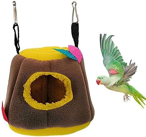 HEEPDD Bird Hammock Warm Soft Parrot Nest Hanging Hut Tent for Parakeet Cockatiel Lovebird Budgie Finch Canary Cockatoo African Grey  Macaw
