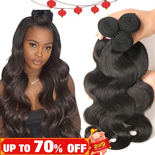 Bestsojoy Virgin Peruvian Body Wave Hair 3 Bundles 10A Unprocessed Peruvian Human Hair Weave Extensions Natural Black Color (12 14 16) (Single Silk 12')