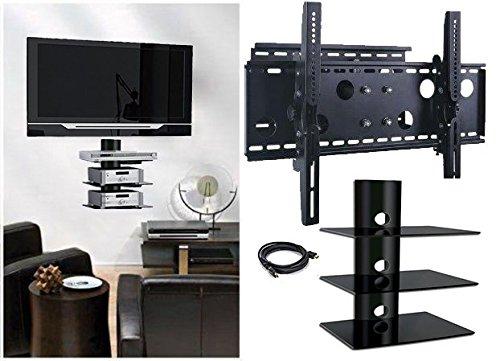 2xhome new tv wall mount bracket single arm u0026 triple 3 three shelf package secure cantilever led lcd plasma smart 3d wifi flat panel screen monitor