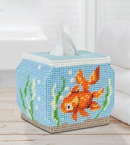 Plastic Canvas Tissue Covers (Fish Bowl Tissue Box Cover Plastic Canvas Kit)