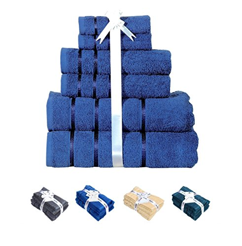 HILLFAIR Luxury Bath Towel Set (BLUE) 100% Cotton 600 GSM, 6-Piece Hotel Towels; Turkish Cotton Quality; 2 Bath Towels,2 Hand Towels, 2 Washcloths, Long-Staple Combed Cotton, Extra Soft & Absorbent by HILLFAIR